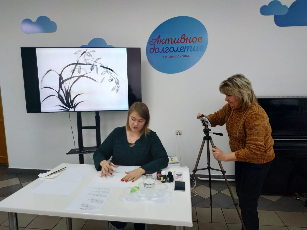 Областной открытый мастер-класс по японской технике рисования суми-э Лотос.